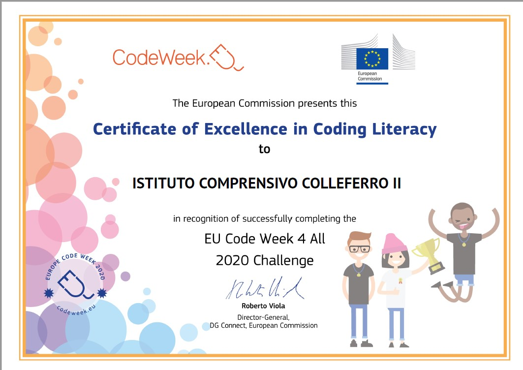 CERTIFATE OF EXCELLENCE IN CODING LITERACY